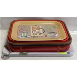 STACK OF 18 ASSORTED SERVING TRAYS