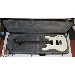 JOHNSON ELECTRIC WHITE GUITAR WITH HARD CASE.