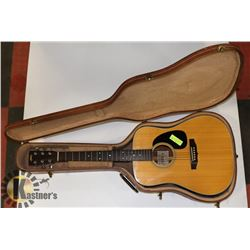 SHIRO MODEL SW-15 GUITAR WITH HARD BROWN CASE.