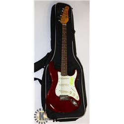 JAY TURSER ELECTRIC RED GUITAR WITH SOFT CASE.