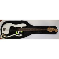 SQUIRE BASS ELECTRIC WHITE GUITAR WITH SOFT CASE.