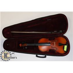 NATURAL VIOLIN WITH BOW AND CASE.