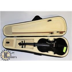 BLACK VIOLIN WITH BOW AND CASE.