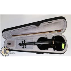 SAMNOON BLACK VIOLIN WITH BOW AND CASE.