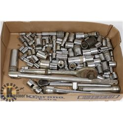 LOT OF VARIOUS SOCKETS, DRIVES AND ATTACHMENTS
