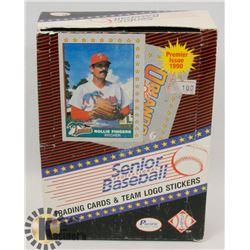 BOX OF PREMIER ISSUE 1990 SENIOR BASEBALL TRADING
