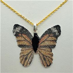 BUTTERFLY SHAPED NATURAL LEAF  NECKLACE