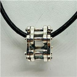 S/SIL BEAD WITH CORD NECKLACE