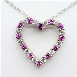S/SIL CREATED PINK SAPPHIRE CZ NECKLACE