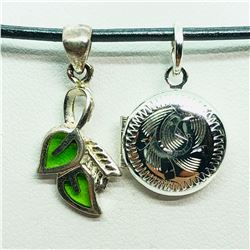 S/SIL LEAF AND LOCKET PENDANT WITH CORD NECKLACE