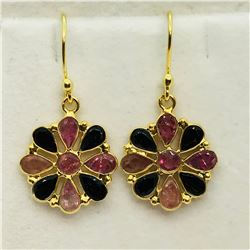 GOLD PLATED S/SIL TOURMALINE EARRINGS
