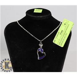 NEW LADIES 3D HEART PENDANT AND NECKLACE SET