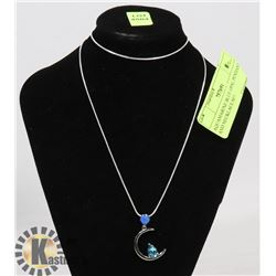 AQUAMARINE BLUE OPAL PENDANT AND NECKLACE SET