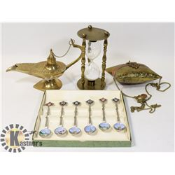 VINTAGE BRASS GENIE LAMP (ENGRAVED