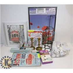 BUNDLE OF HOUSEHOLD ITEMS INCLUDING CANDLES
