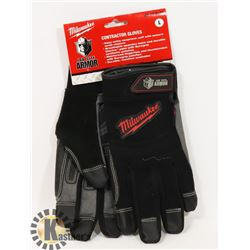 PAIR OF MILWAUKEE CONTRACTOR GLOVES, LARGE