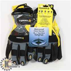 2 PAIRS OF XL TERRA DOUBLE-LINED MECHANICS GLOVES