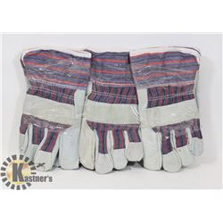 3 PAIRS OF LINED WORK GLOVES