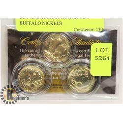 LOT OF 24K GOLD PLATED USA BUFFALO NICKELS