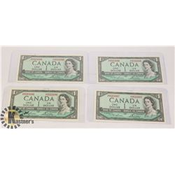1954 LOT OF 4 IN SEQUENCE CANADA $1 DOLLAR BANK
