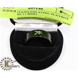 BLACK STAINLESS STEEL PLAYBOY BUNNY SZ 11 RING