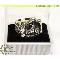 MOTORCYCLE AND EAGLE STAINLESS STEEL RING SZ 9