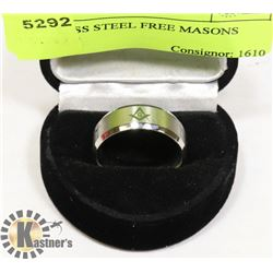 STAINLESS STEEL FREE MASONS RING SZ 9