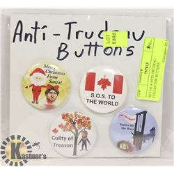 SET OF 4 ANTI-TRUDEAU COLLECTOR BUTTONS
