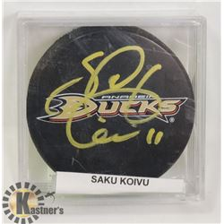 SAKU KOIVU AUTOGRAPHED PUCK AUTHENTICATED