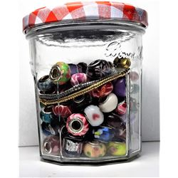 4)  LOT OF 100 PANDORA STYLE BEADS AND
