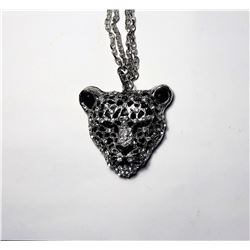 9)  SILVER TONE WITH BLACK ENAMEL AND