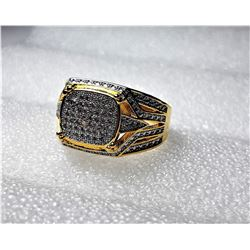 17)  GOLD TONE WITH WHITE PAVE SET TOPAZ