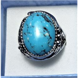 11) LARGE OVAL TURQUOISE  RING WITH