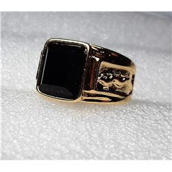 18)  GOLD TONE WITH SQUARE CUT BLACK
