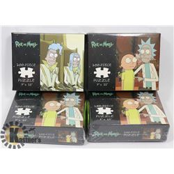 """LOT OF 4 RICK & MORTY 200PC 9""""X11"""" PUZZLES."""