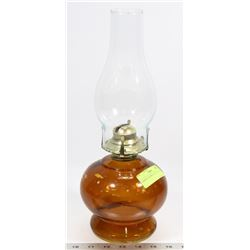 AMBER COLORED COAL OIL LAMP.
