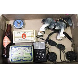 FLAT OF COLLECTIBLE CIGARETTE TINS, HEADSET,