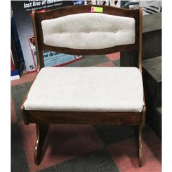 WOOD AND FABRIC VINTAGE CHAIR