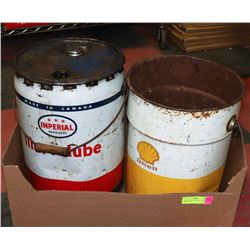 TWO OIL/GREASE CANS - IMPERIAL AND SHELL.
