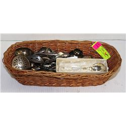 BASKET FULL OF COLLECTIBLE SPOONS - LOTS