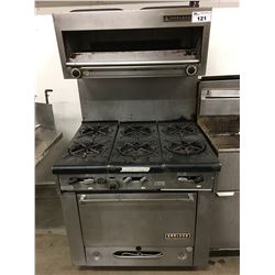 "36"" GARLAND 6 BURNER STOVE WITH WARMER"