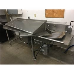 8' STAINLESS STEEL COUNTER WITH SINK AND GARBURATOR