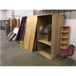ASSORTED DOORS, WINDOW FRAMES, MISCELLANEOUS PIECES ALONG WALL