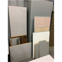ASSORTED LAMINATE COUNTERS, DESK, TACK BOARDS