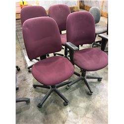 4 MAROON OFFICE CHAIRS