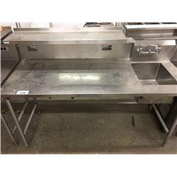 6' STAINLESS STEEL TABLE WITH SINK
