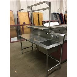 "72"" STAINLESS STEEL TABLE WITH PREP SINK"