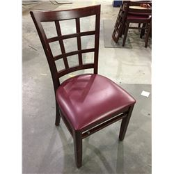 DARK WOOD RESTAURANT CHAIRS WITH BURGUNDY VINYL SEAT