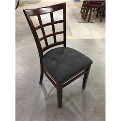 DARK WOOD RESTAURANT CHAIRS WITH BLACK FABRIC SEAT