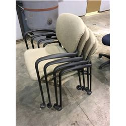 LOT OF 4 STACKABLE CHAIRS WITH WHEELS